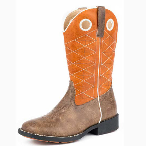 Roper Kid's Orange and Brown Criss Cross Square Toe Boot