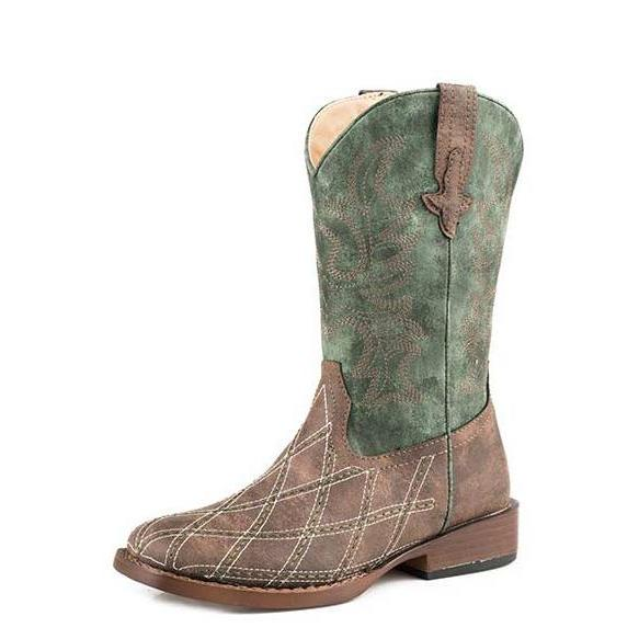 Roper Kid's Brown and Green Cross Cut Diamond Stitched Square Toe Boot