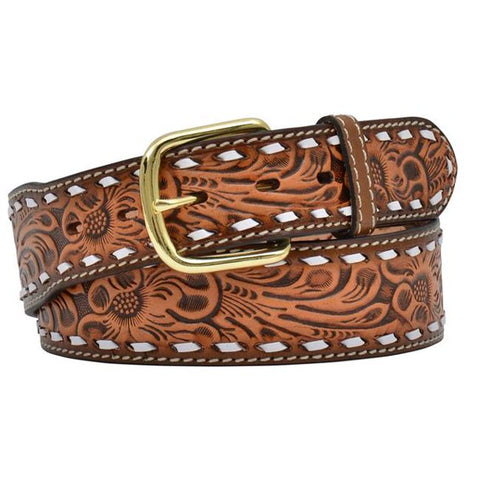 3D Men's Natural Floral Embossed Buckstitch Belt
