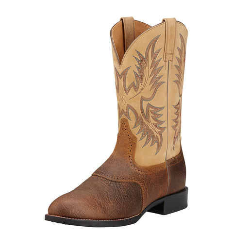 Ariat Men's Brown and Beige Heritage Stockman Round Toe Boot