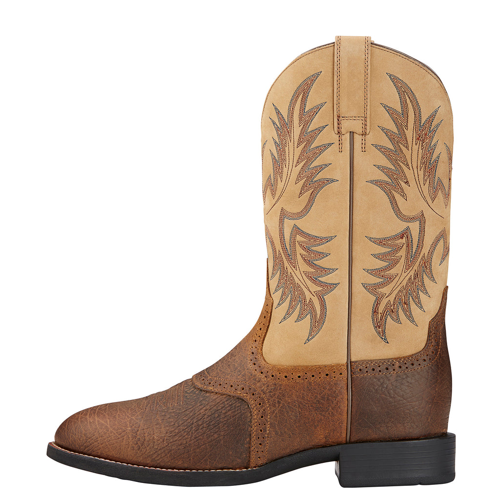0015420eb53 Ariat Men's Brown and Beige Heritage Stockman Round Toe Boot ...