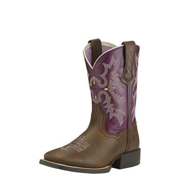 Ariat Tombstone Kid's Brown/Plum Square Toe Western Boots