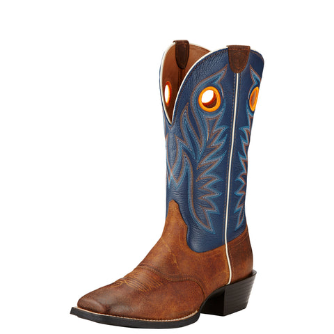 Ariat Men's Blue and Brown Sport Outrider Square Toe Boot
