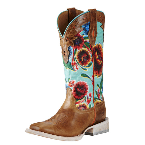Ariat Circuit Champion Floral & Brown Square Toe Boots