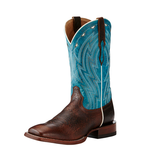 Ariat Men's Chocolate and Blue Cowtown Square Toe Boot
