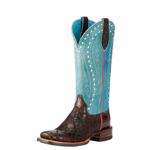 Ariat Women's Chocolate Anaconda and Teal Callahan Square Toe Boot