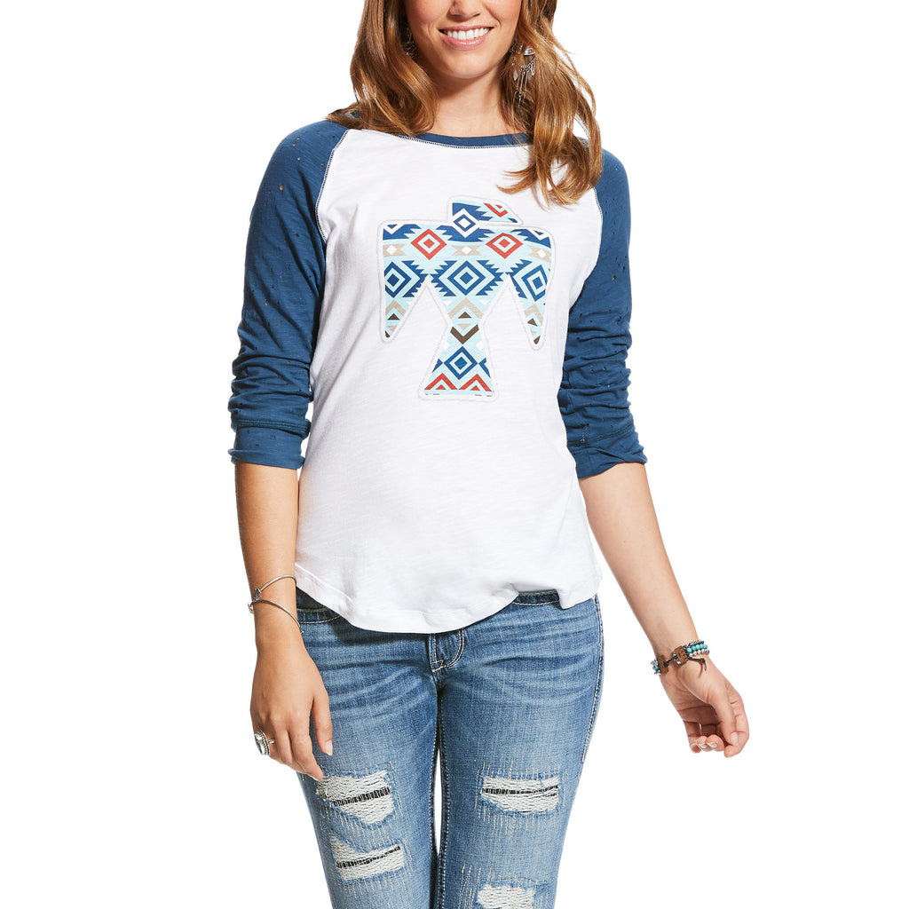 Ariat Women's Blue and White Aztec Thunderbird Baseball Tee