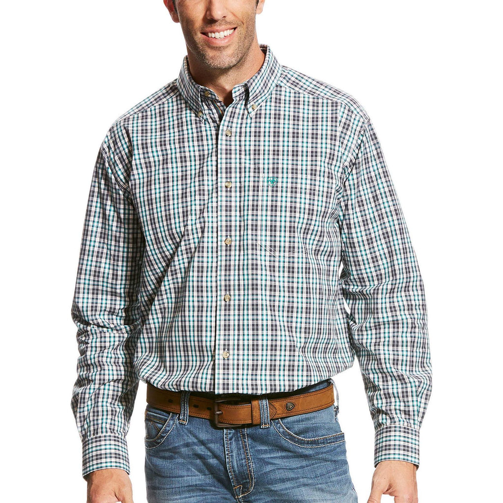Ariat Men's Turquoise and Charcoal Plaid Long Sleeve Shirt