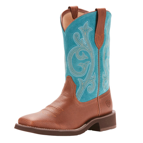 Ariat Women's Brown and Turquoise Prim Rose Square Toe Boot
