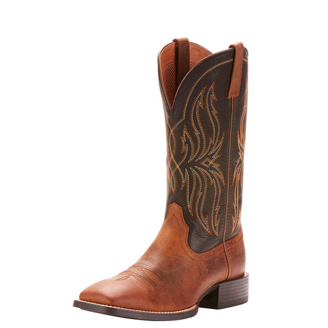 Ariat Men's Brown and Black Sport Rustler Square Toe Boot