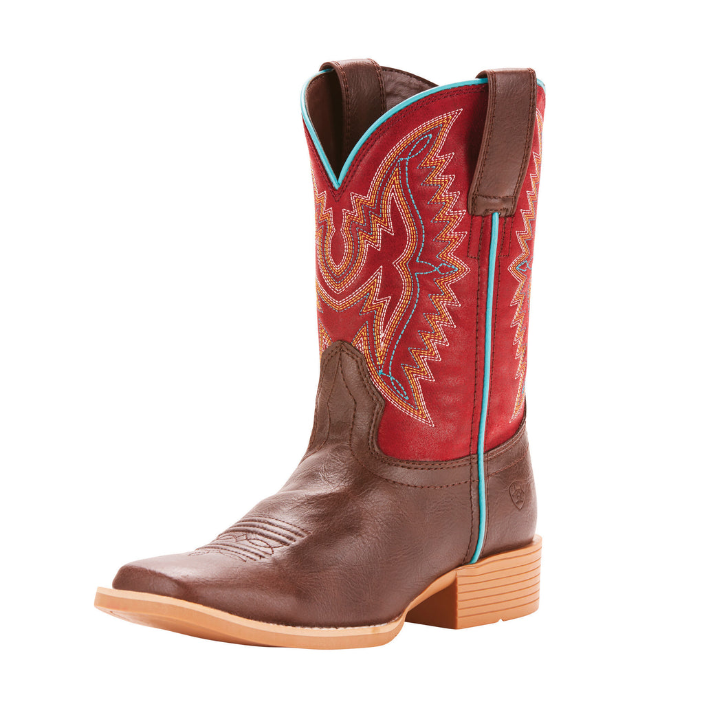Ariat Kids Chocolate and Maroon Bristo Square Toe Boots