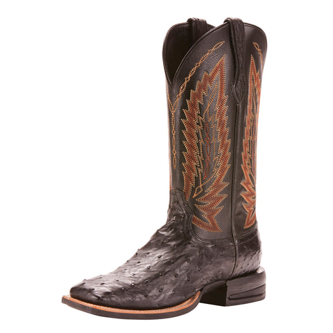 Ariat Men's Black Full Quill Ostrich Relentless Platinum Square Toe Boot