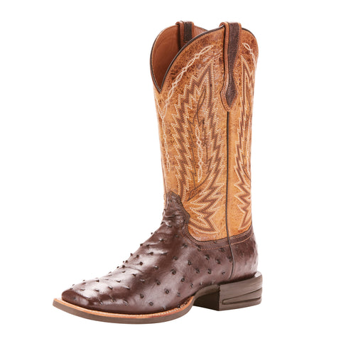 Ariat Men's Tobacco Full Quill Ostrich Relentless Platinum Square Toe Boot