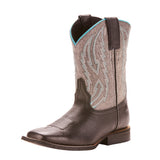Ariat Kid's Black Jag and Glo Grey Relentless Square Toe Boot