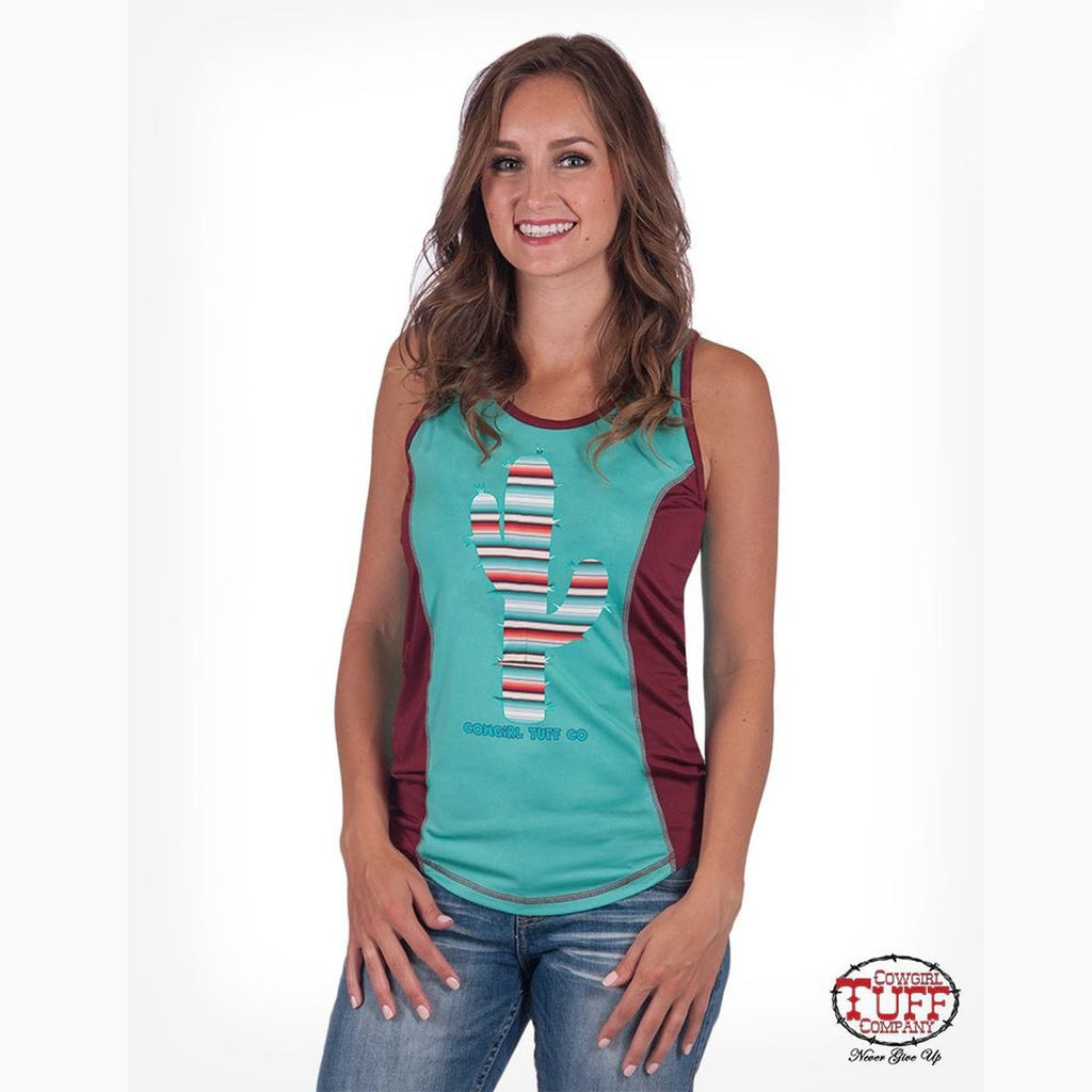 Cowgirl Tuff Women's Turquoise and Red Cactus Aztec Tank
