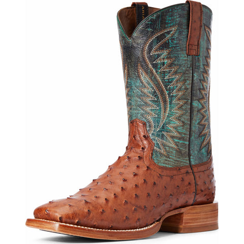 Men's Ariat Full Ostrich Quill Brandy Brown and Green Square Toe Boot
