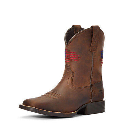 Ariat Kid's Patriot Distressed Brown Square Toe Boots