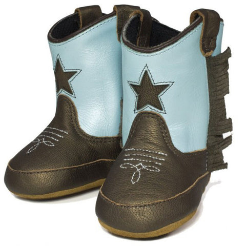 Old West Chocolate and Turquoise Baby Boot