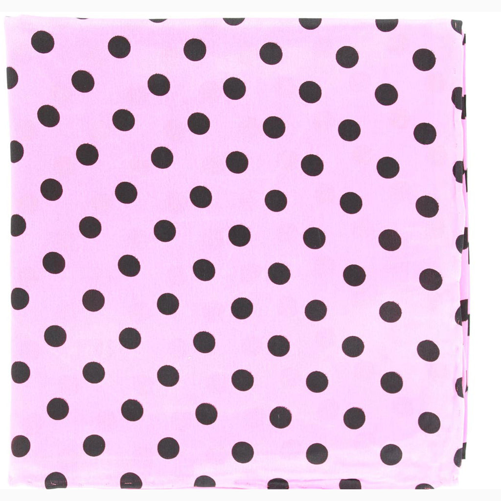 Black and Pink Polka Dot Silk Wild Rag