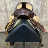Shiloh Youth Saddle with Basketweave Background and Running W Border. 13 Inch Seat