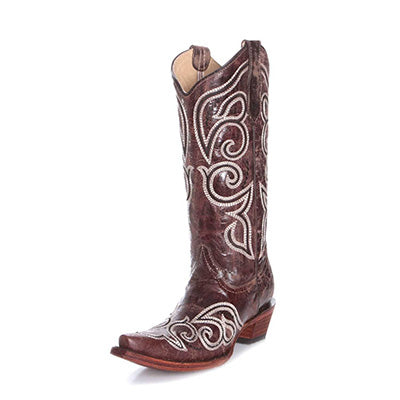 Women's Brown Cream Swirl Embroidered Boots
