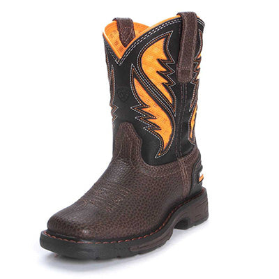 Ariat Kid's Cocoa and Orange VentTek Square Toe Boots