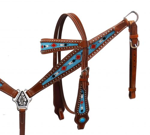 Shiloh Feather/Diamond Beaded Breast Collar