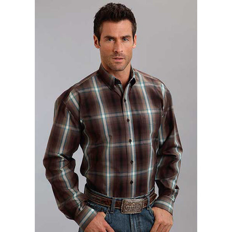 Stetson Men's Mahogany Plaid Long Sleeve Shirt