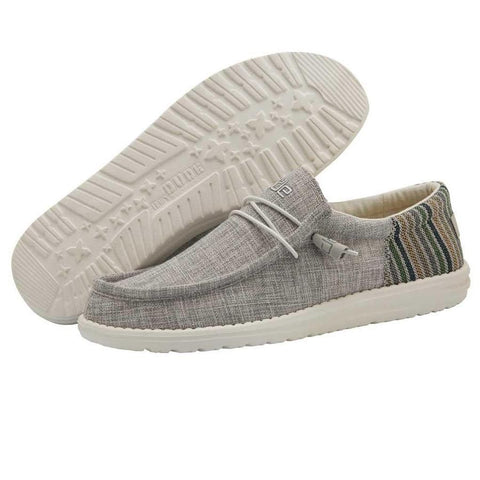Men's Hey Dude Grey Stripe Wally Funk Casual Shoe