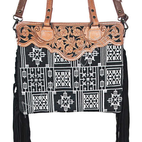 American Darling Black & White Fringe Purse