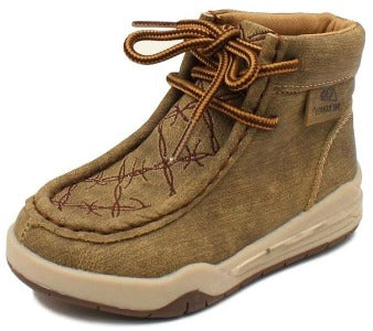 Brown Kid's Jackson Barbed Wire Light Up Moccasin