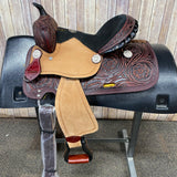 Shiloh Youth Saddle with Floral Tooling and Black Felt Seat, 12 Inch Seat