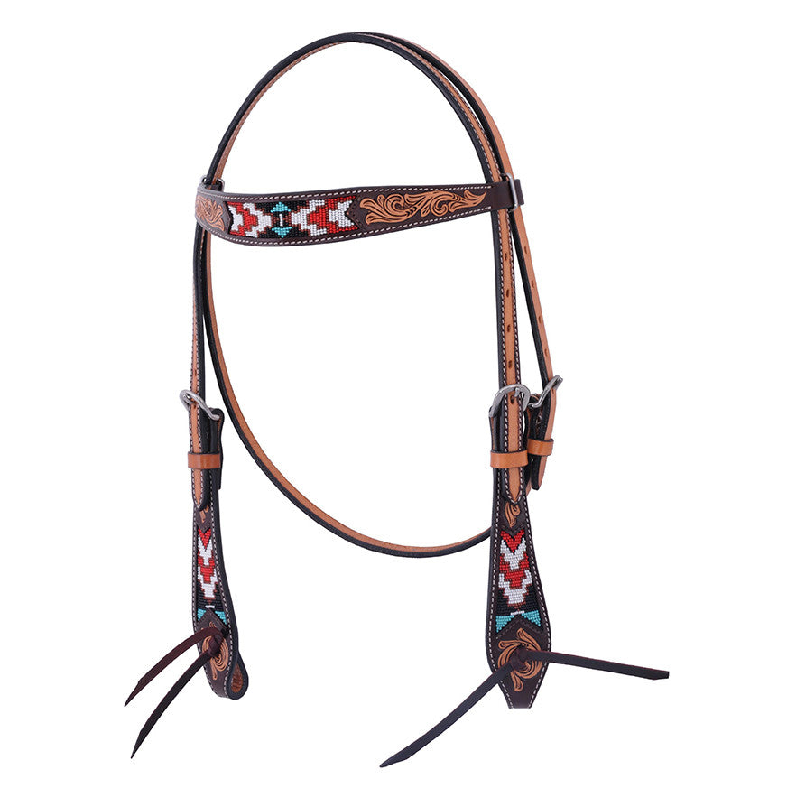 Oxbow Antique Tooled Aztec Beaded Head Stall