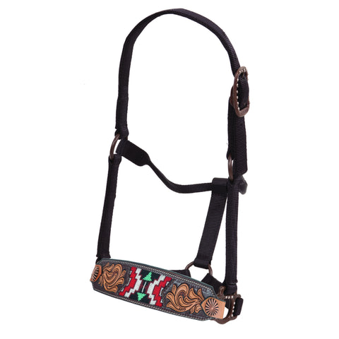 Oxbow Antique Tooled and Beaded Leather Nose Band Halter