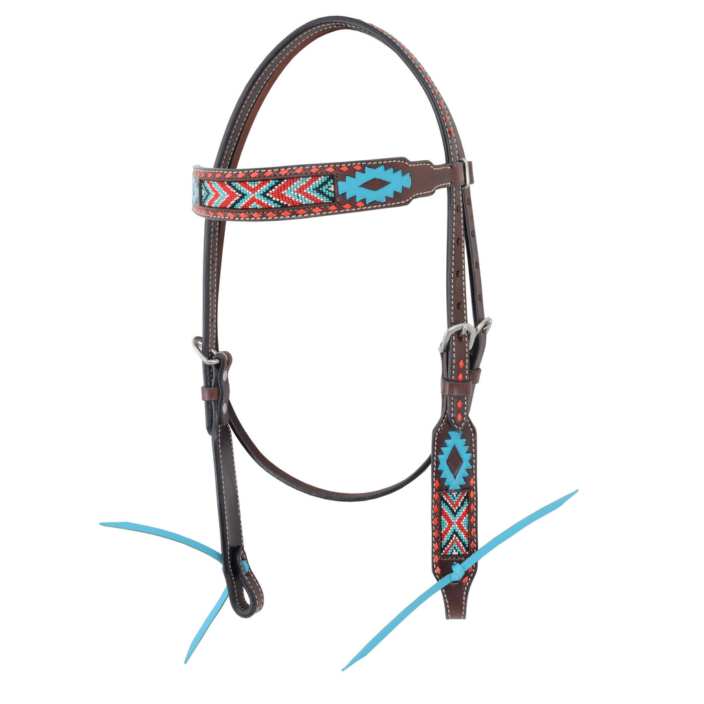 Oxbow Aztec Beaded Browband Headstall