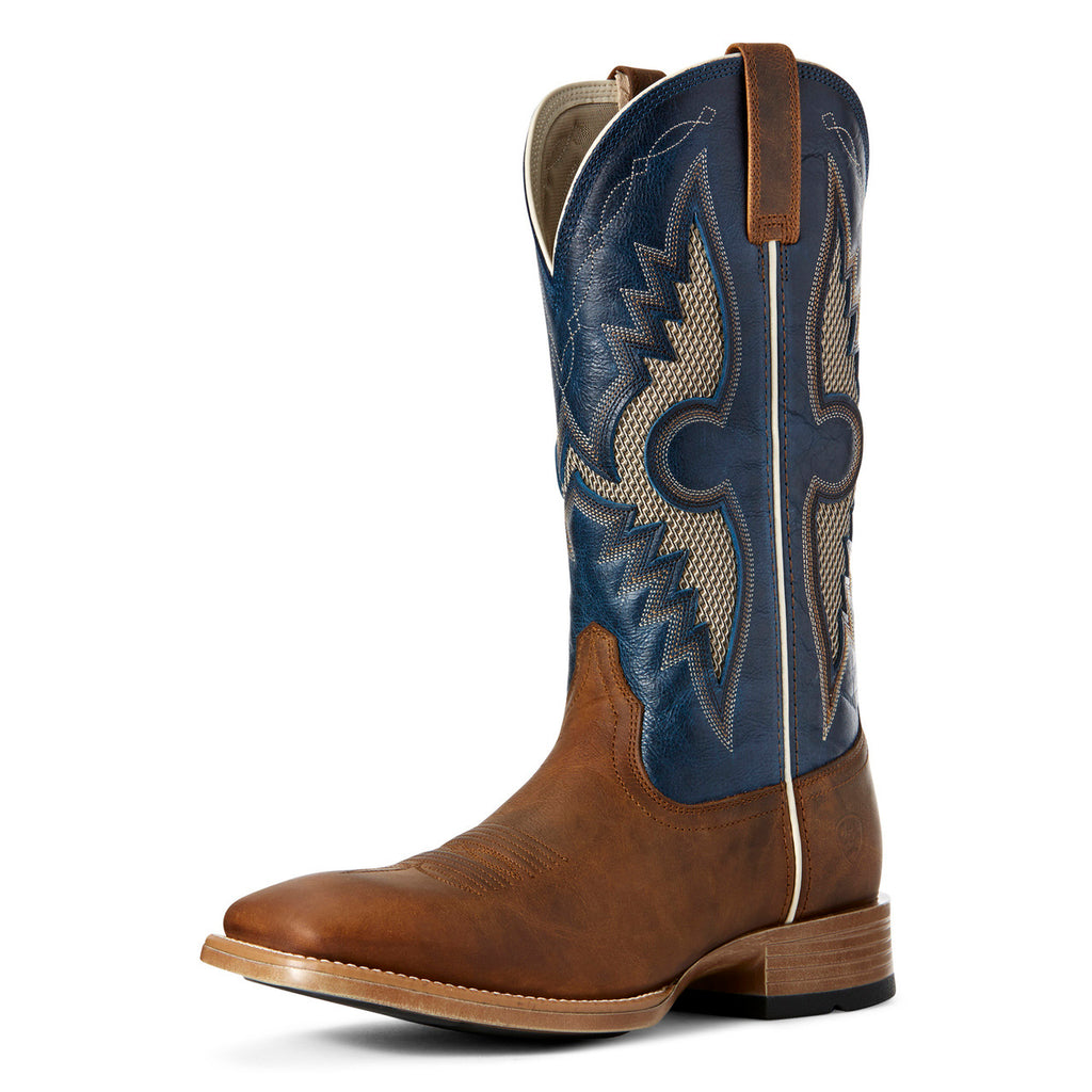 Ariat Men's Sorrel Crunch and Cowboy Blue Solado VentTEK Square Toe Boot