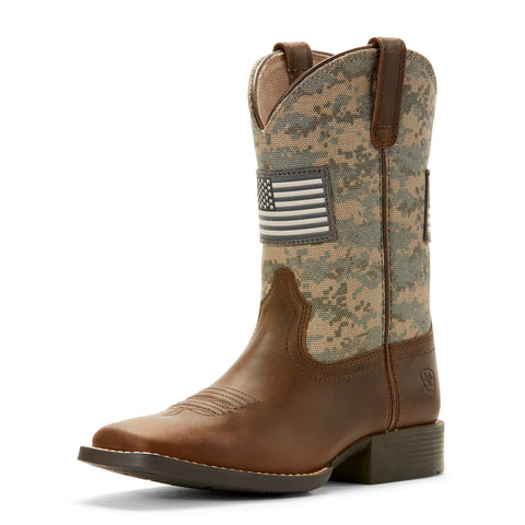 Ariat Kid's Sage and Brown Camo Patriot Square Toe Boot