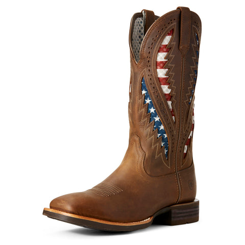 Ariat Brown American Flag Quickdraw Venttek Square Toe Boot