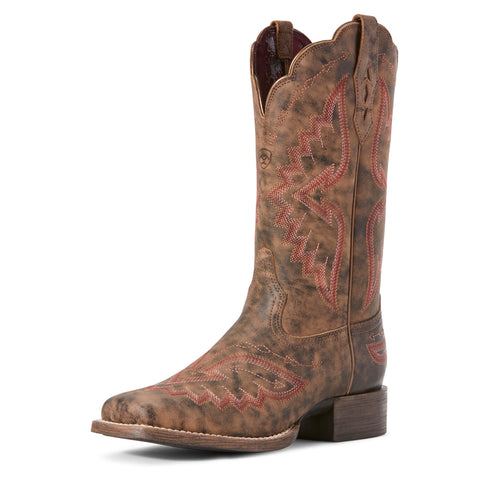 Ariat Women's Distressed Truffle Round Up Santa Fe Square Toe Boot