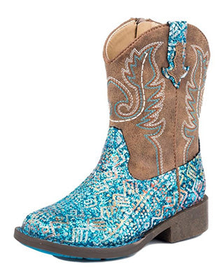Roper Toddler Blue South West Glitter Square Toe Boots