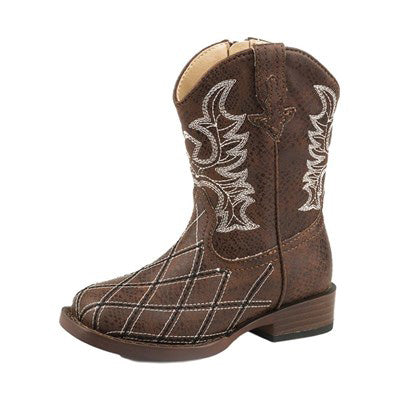 Roper Toddler's Brown Diamond Stitched Square Boots