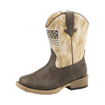 Roper Toddler Brown Camo Flag Square Toe Boots