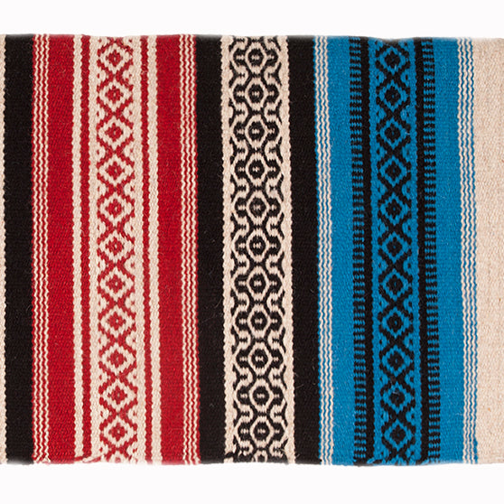 Mustang- Blue and Red Tierra Patterned Saddle Blanket