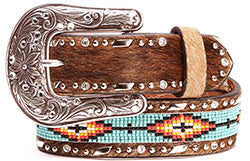 Ariat Girl's Hair On Beaded Leather Belt