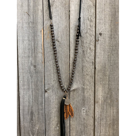 J.Forks Designs - Wood & Silver Beads, w/Buffalo Nickel & Leather Feather Necklace