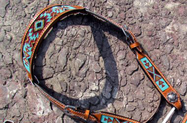 Shiloh Turquoise/Brown/Burgundy Beaded Headstall