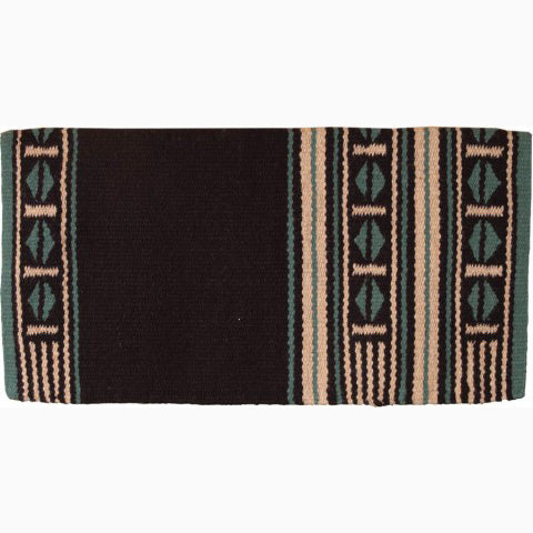 Mustang Black and Turquoise New Zealand Wool Blanket
