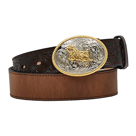 3D Kid's  Brown Floral Tooled Ends with Bullrider Buckle