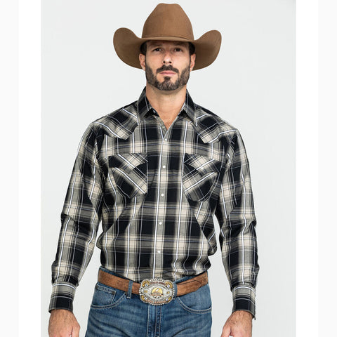 Men's Ely Black and White Plaid Long Sleeve Shirt
