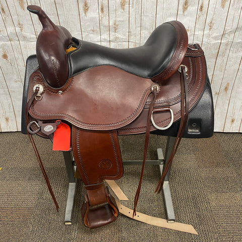 "Circle Y Omaha Flex Trail Saddle with Shell Border, 16"" seat"